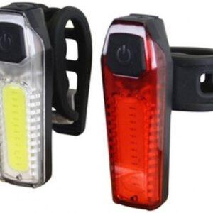 Cycle Tech verlichtingsset siliconen led 35/80 lux batterij zwart