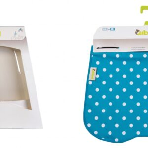 Qibbel windscherm To Go met stylingset polka blauw/wit