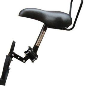 TOM fietszitje voor op buis damesfiets dubbele stang zwart