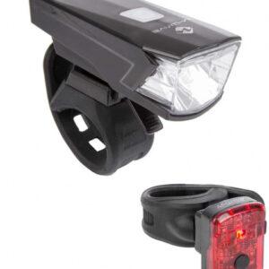 M Wave verlichtingsset Atlas 15 USB led batterij zwart/rood